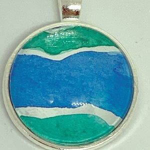 Jewelry - Blue and green watercolor waive pendant.
